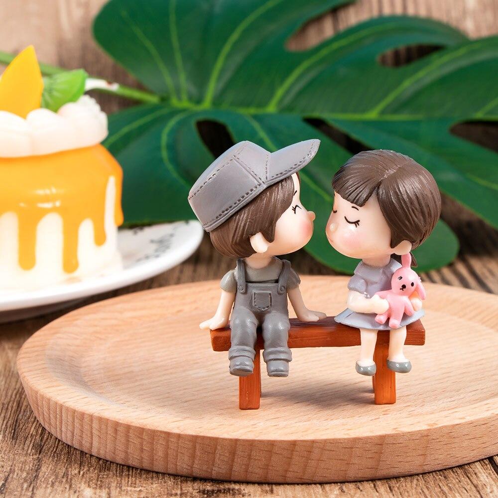 3 Pcs/Set Mini Stool Couples Dolls Fairy Garden DIY Micro Landscape Decor Figures Figurine Decoration Crafts 2 Colors