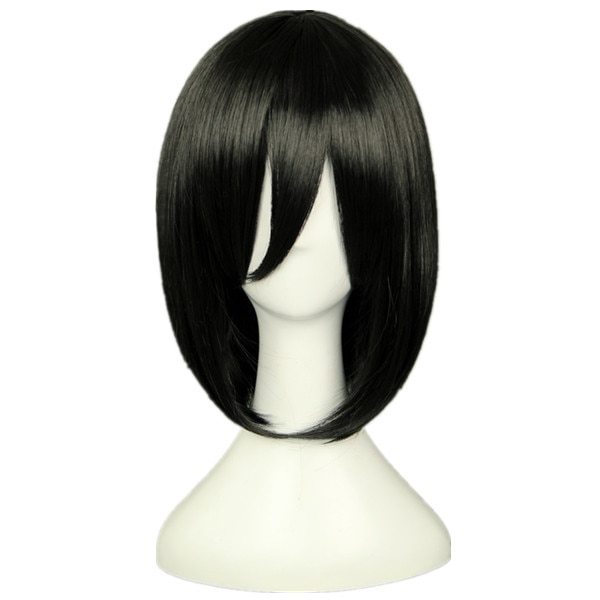 Attack on Titan Mikasa Ackerman Short Bob Black Heat Resistant Cosplay Costume Wig