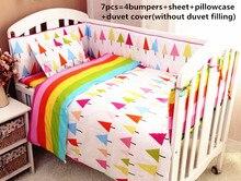 Promotion! 6/7PCS baby boy girl crib bedding set kit berço baby cot beding cotton material, 120*60/120*70cm