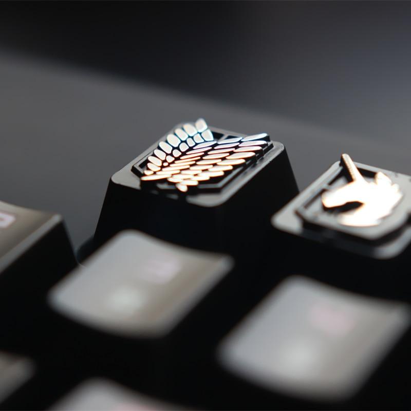 Keycap-أغطية مفاتيح مخصصة من سبائك الزنك للوحة المفاتيح الميكانيكية للألعاب ، هجوم على تيتان ، DIY بها بنفسك