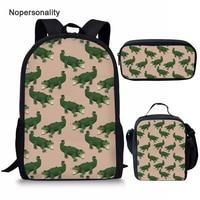 Nopersonality Cool Kids Crocodile Print Schoolbags 3pcs/set Schoolbag for Teenage Boys Stylish Children Bookbags Mochila