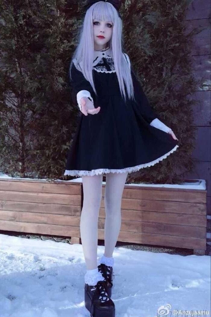 Harajuku japonés negro y Beige gótico Lolita vestido niñas monja hermana Anime Cosplay vestido de fiesta