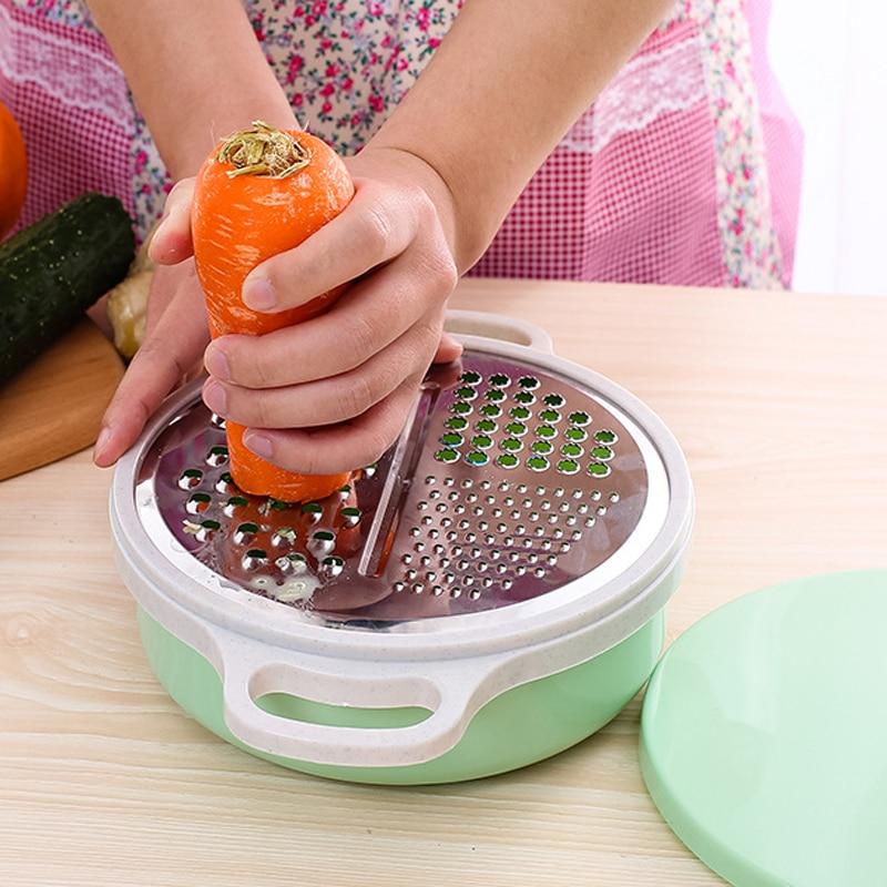 A lo largo de 4 en 1 vegetal de la fruta de patata cortador rallador cortador de cuchillas de acero inoxidable picador vegetariano