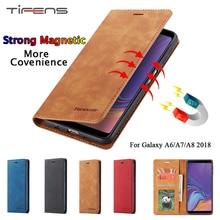 Case For Samsung Galaxy A6 A8 A7 2018 Luxury Leather A8 2018 Magnetic Wallet Flip Card Holder Phone