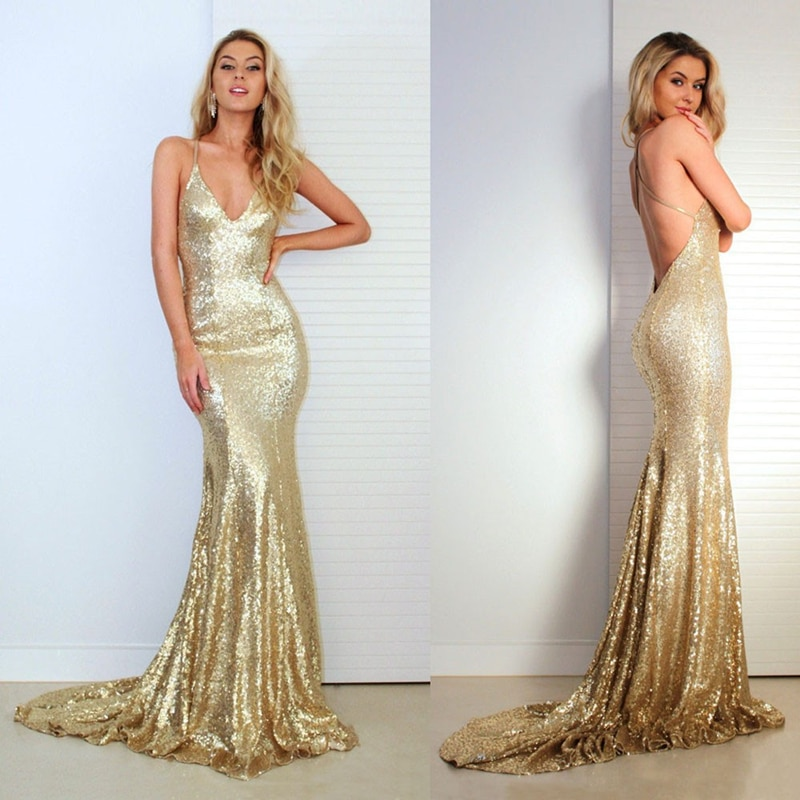 Satsweety Sexy Prom Dresses with V Neckline Criss-Cross Backless Bling Mermaid 2020Gold Sequins Bridesmaid Dress