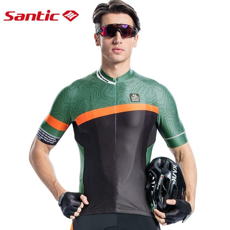 Santic hombres Ciclismo Jersey corto Pro Fit antideslizante de manga corta brazalete bicicleta de carretera MTB transpirable cuesta abajo Mtb Jersey Camisa de Ciclismo