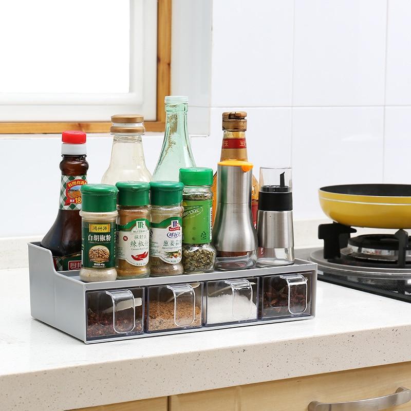 Household multi-function kitchen storage box 4 grid transparent seasoning box with spoon seasoning rack set WF4091120
