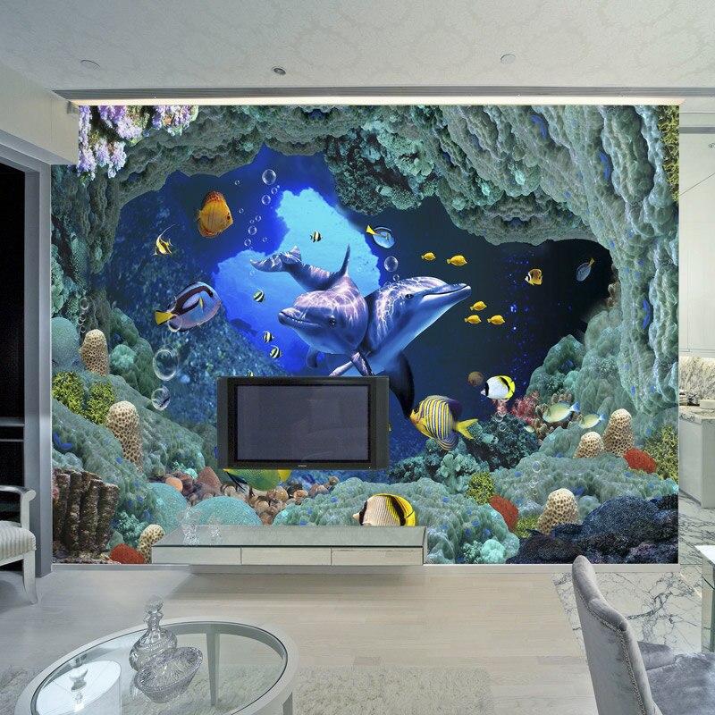 Pared del mundo submarino 3D Mural Delfín de dibujos animados foto papel tapiz para niños personalizado habitación niños TV sofá telón de fondo murales de papel