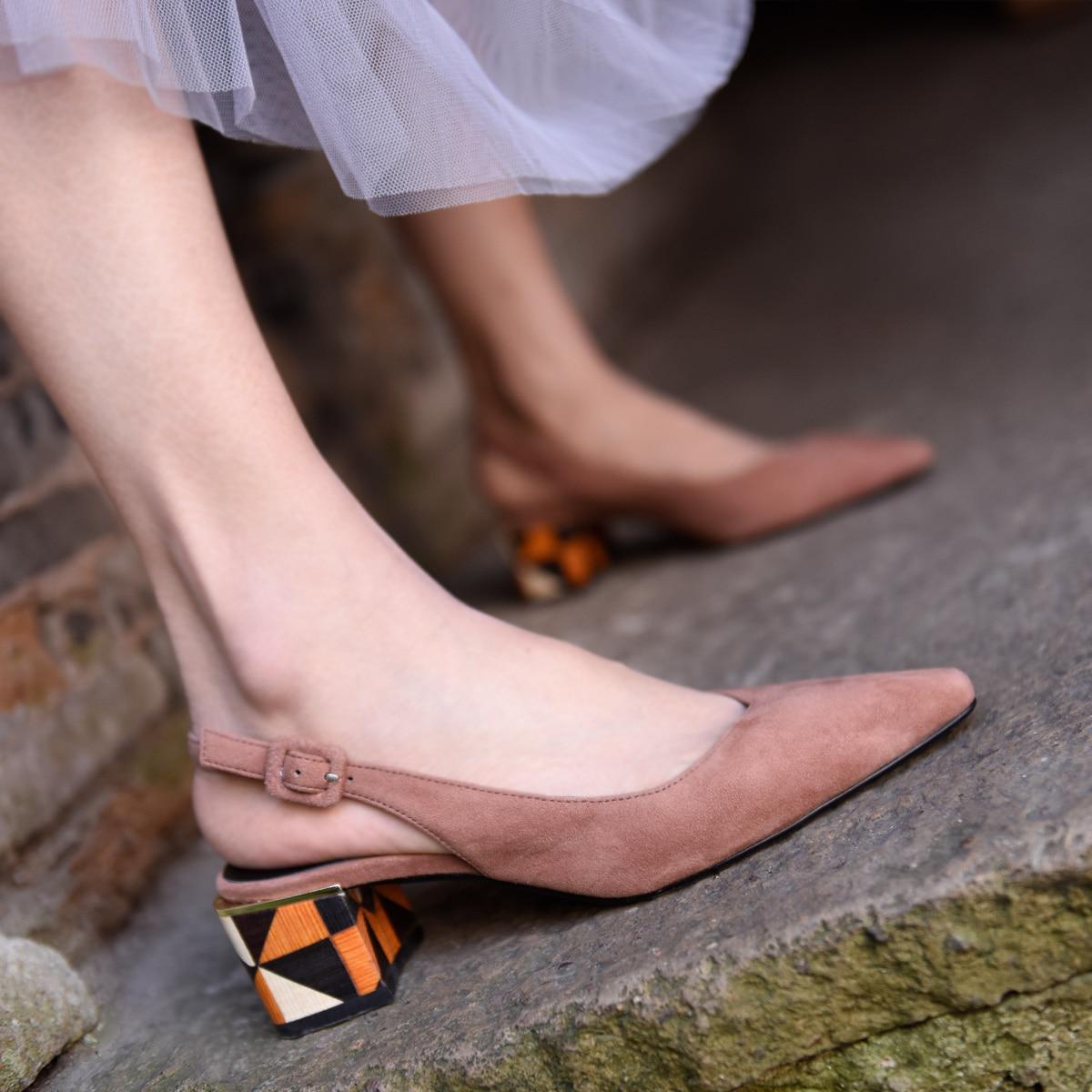 Sandalias artmu originales de tacón grueso para mujer, sandalias de cuero genuino con punta estrecha, novedad de verano, zapatos hechos a mano de tacón medio de piel de oveja