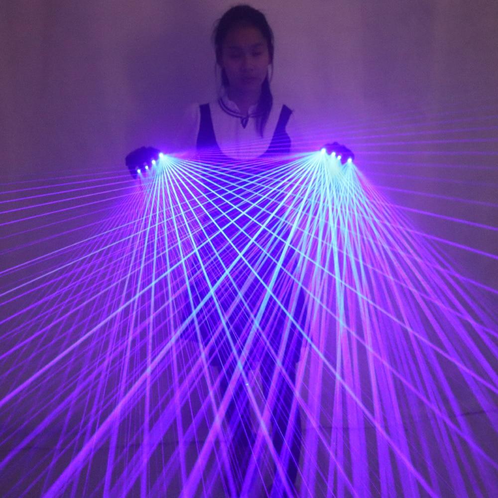 Gants Laser bleu multi-lignes 2 en 1 avec Laser 4 pièces 450nm 80mW, gants de scène pour LED