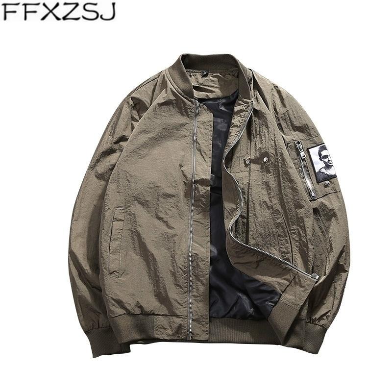 FFXZSJ бренд Курточка бомбер мужские однотонные осенние пилот куртки пальто 2018Hot распродажа Бейсбольным воротником на молнии тонкая повседне...