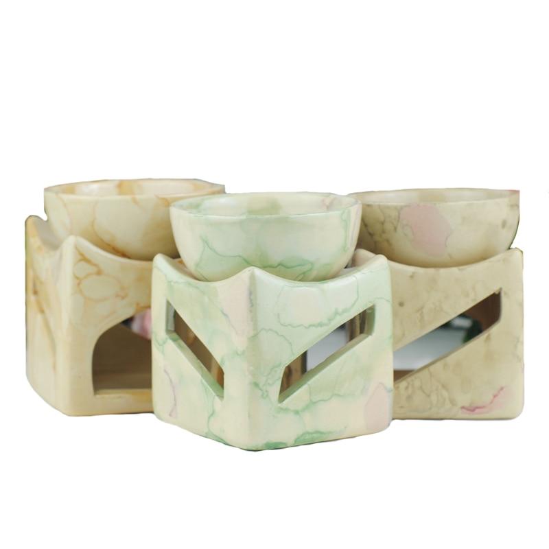Quemador de aceite de cerámica en 3 colores con portavelas de gran capacidad, horno de aceite de aromaterapia sin vela W $