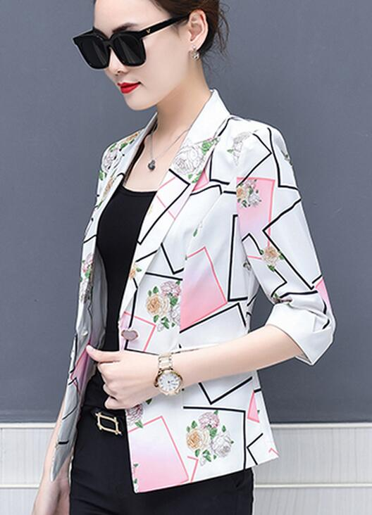 Alta calidad 2018 otoño nueva llegada elegante de talla grande S-XXXXL OL estilo de la flor impreso de manga mitad mujer traje de abrigo
