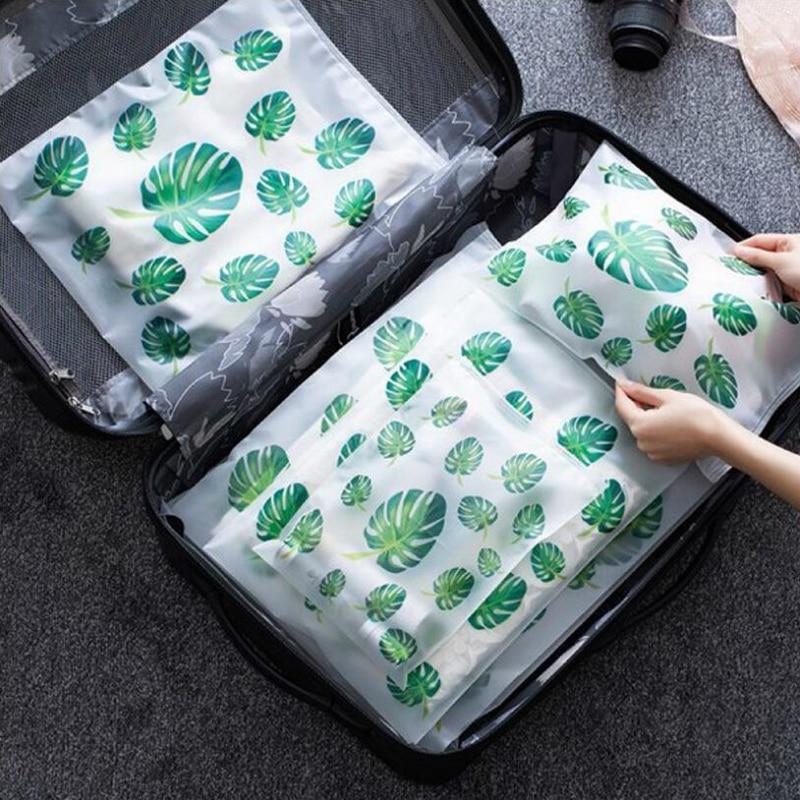 5 unids/set de organizador de bolsas de viaje para equipaje, bolsa de plástico transparente con cierre Zip, bolsa de almacenamiento de zapatos JMA083