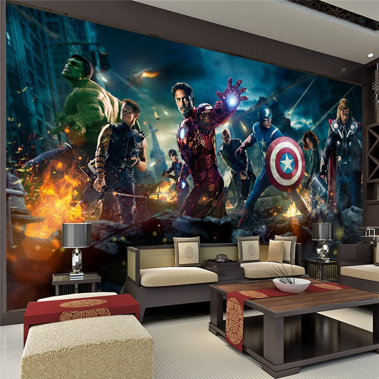 Los Vengadores pared Mural de la pared de Hulk, Thor, Capitán América, foto papel de película de pared Mural para cuarto de bebé sofá TV pared de fondo