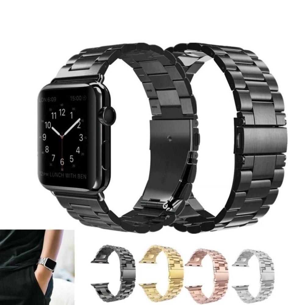 Ремешок из нержавеющей стали для Apple Watch series 4/3/2/1, металлический браслет для iWatch 44 мм 42 мм 40 мм 38 мм, аксессуары