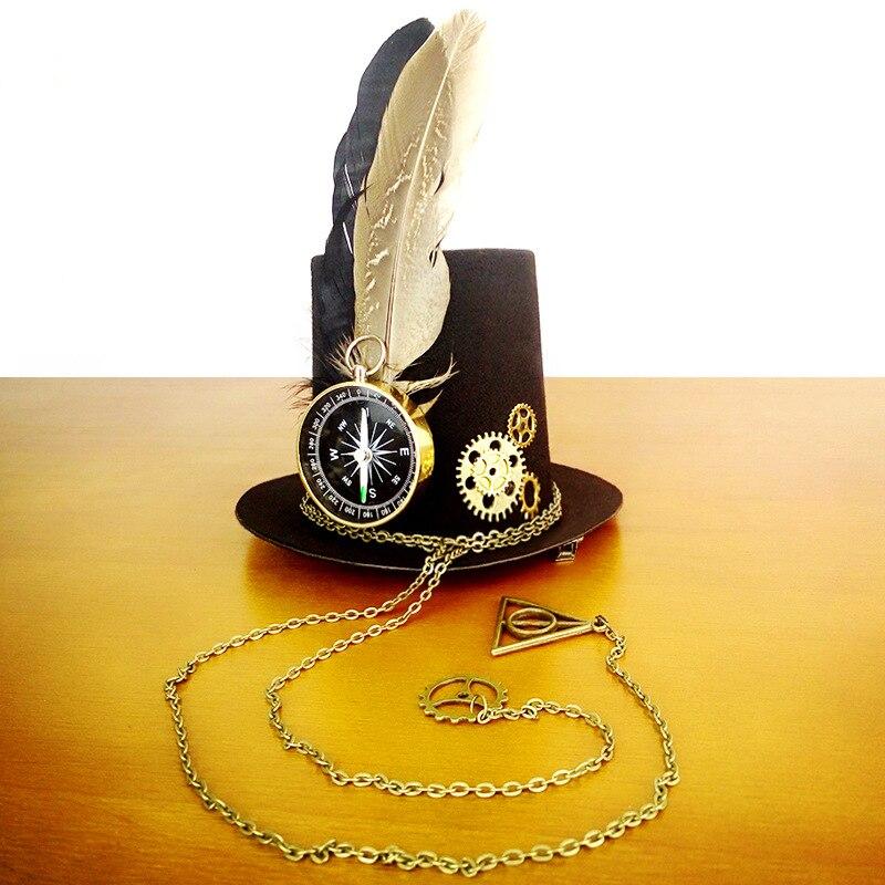 Mini sombrero Retro de plumas para mujer, Steampunk, sombrero para cosplay de Lolita, sombrero de fieltro, gótico Geer, brújula, ropa para la cabeza, para Halloween