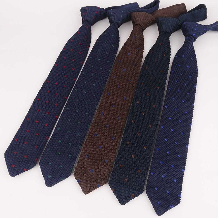 Novo estilo de moda masculina dot colorido gravata malha de malha gravatas gravata normal magro clássico tecido gravata estreita gravata vintage