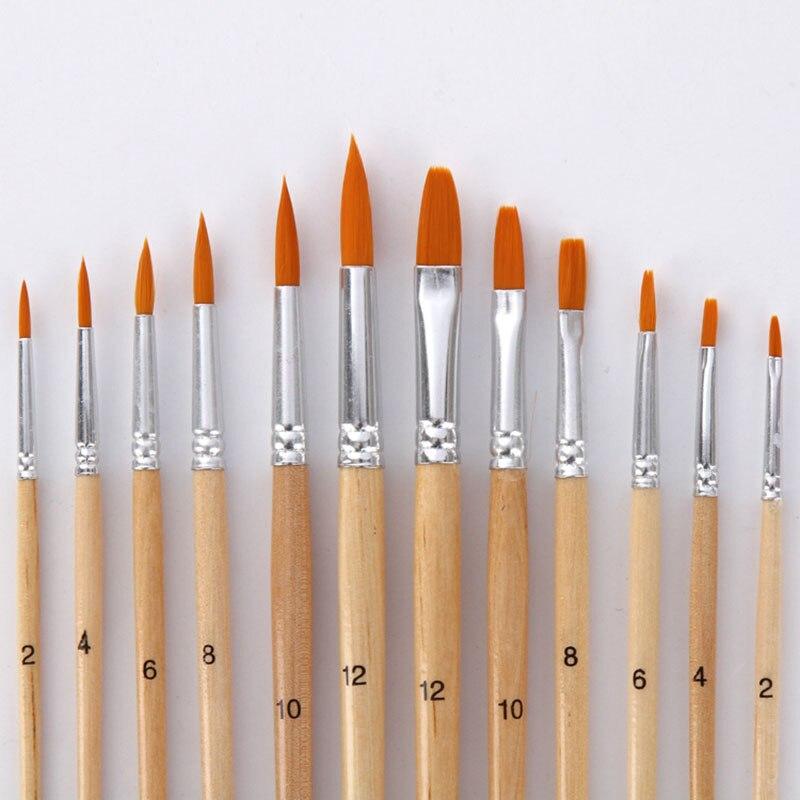 12 unids/lote cepillo de pintura diferente tamaño de registro de color de pelo de Nylon pinceles para pintura al óleo de acuarela acrílico arte dibujo suministrar