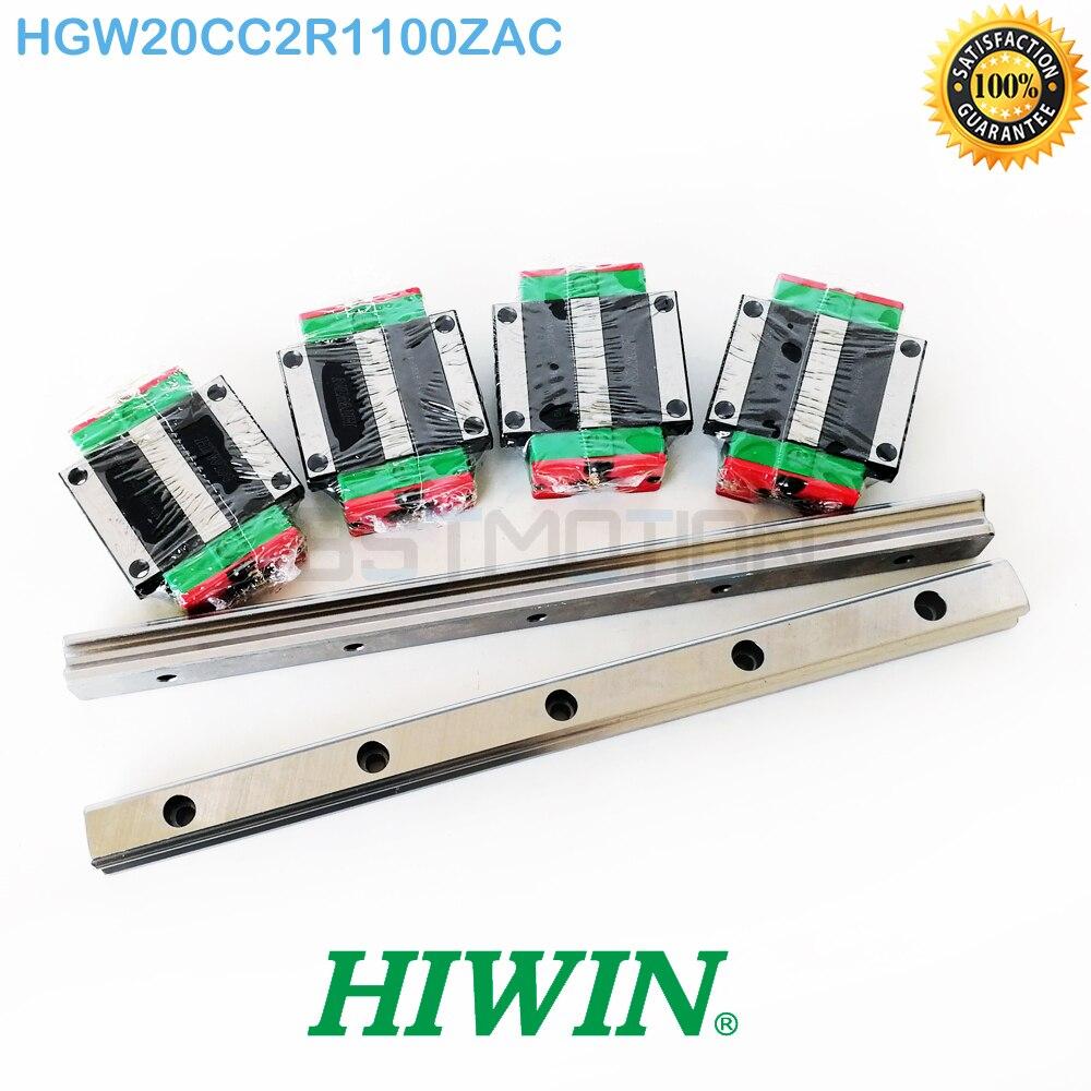 Original HIWIN guía lineal HGR20 2 piezas 1100mm carril lineal de 4 piezas HGW20CC transporte HGW20CC2R1000ZAC México cnc carril conjunto