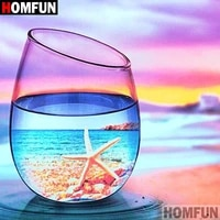 homfun full squareround drill 5d diy diamond painting ocean cup 3d embroidery cross stitch 5d home decor a08169