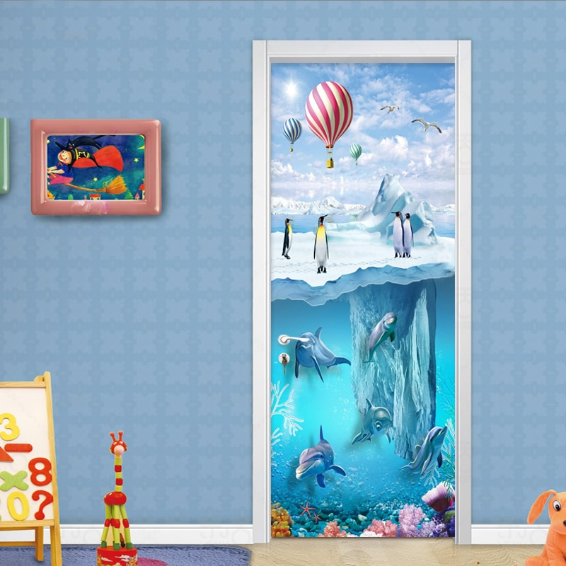 PVC autoadhesivo impermeable Pared de fotos Mural puerta pegatina papel tapiz 3D Iceberg pingüino delfines dormitorio de los niños papel tapiz 3D