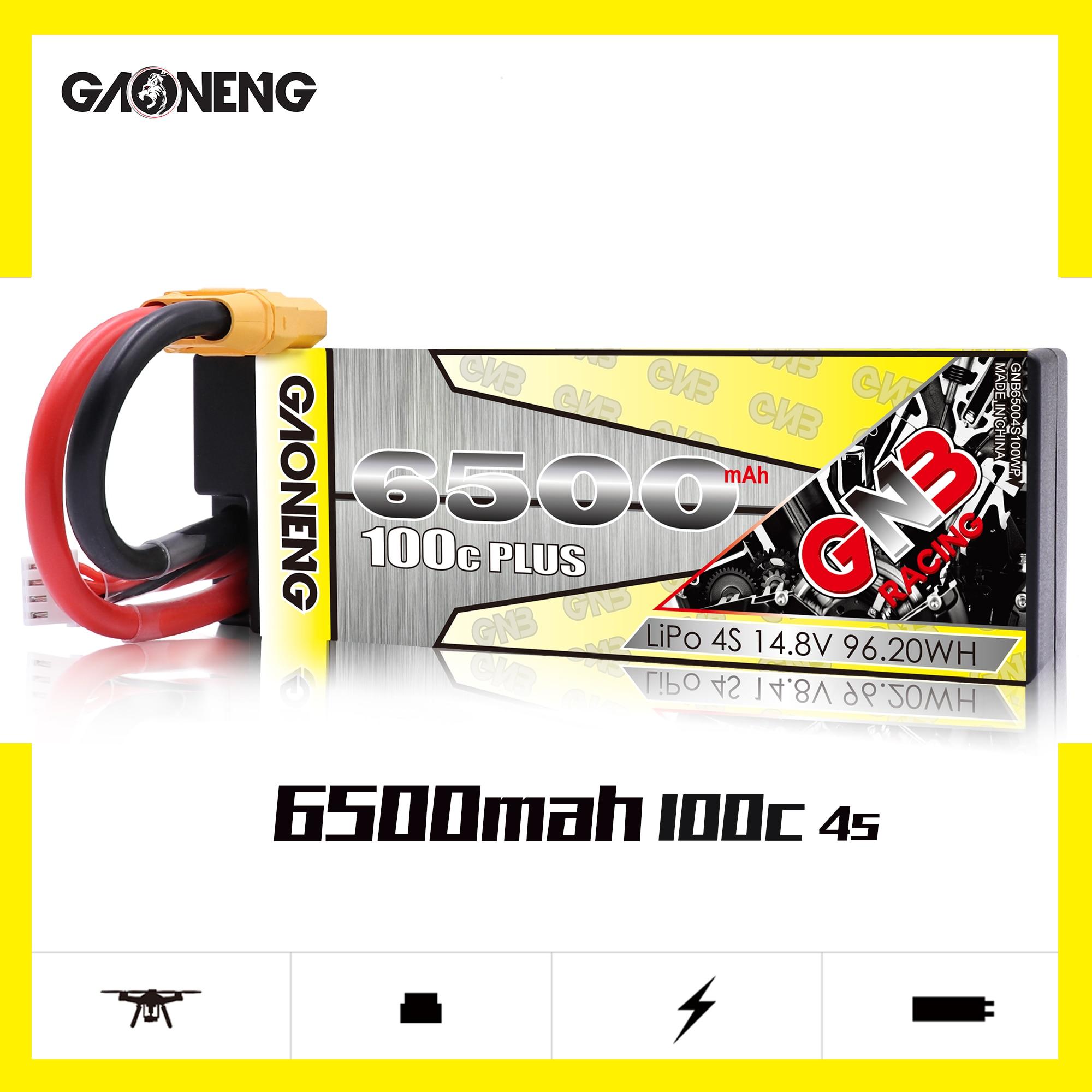 Gaoneng gnb 6500 mah 4S 14.8 v 100c mais bateria lipo hardcase com t/xt90/xt60 plug para 18 1/8 rc carro quatro carro fora de estrada rc carro