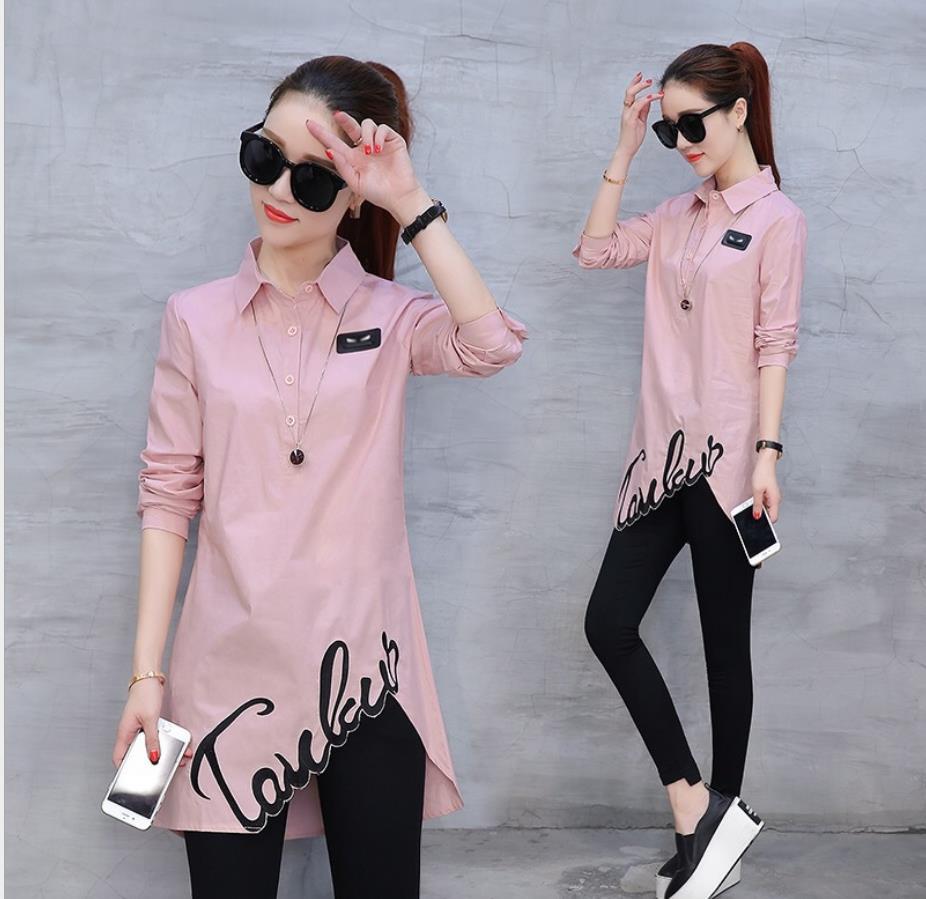 Camisa de algodón tops 2020 primavera otoño nueva blusa de mujer de moda de manga larga ajustada wild Han Fan shirt 201929