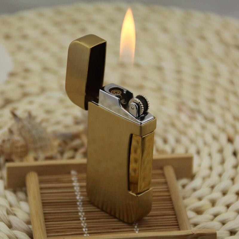 Creatieve Draagbare Metalen Winddicht Lichtere Dubbele Fire aansteker Butaangas Aansteker Slijpschijf Open Vuur