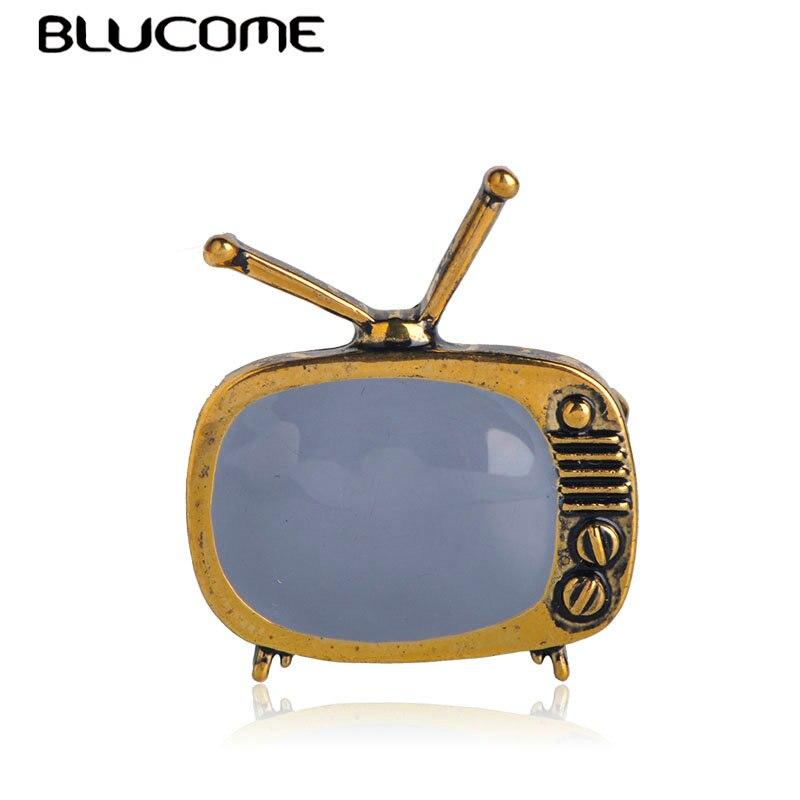 Blucome clássico tv do vintage forma de televisão broche cor ouro esmalte broches pais presente cachecol camisola colar pinos acessórios