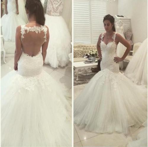 Boho Vestido De novia musulmana vestidos De boda tul De sirena sweetheart encaje ver a través De Dubai árabe Vestido De novia