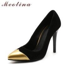 Meotina أحذية النساء مضخات خنجر الكعب العالي وأشار تو حجم كبير 46 عالية رقيقة الكعوب الانزلاق على مضخات مكتب الأحذية الذهب الفضة
