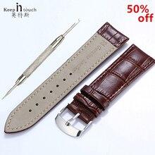 Haute qualité 20mm bracelet de montre en cuir 22mm hommes femmes marron étanche bracelet de montre 16mm en acier véritable boucle noir 18mm bracelet de montre