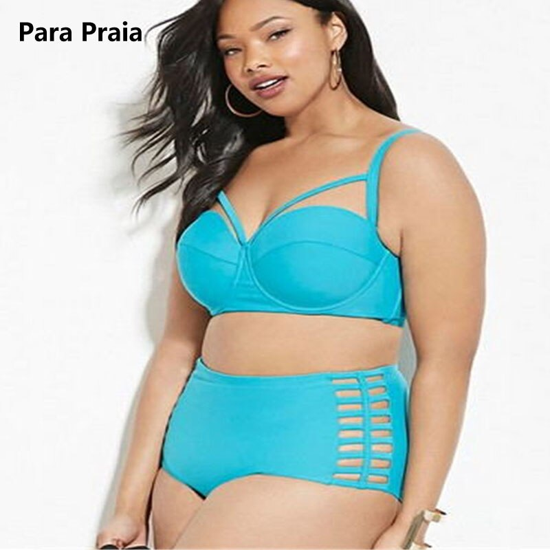 High Waist Bikini Set Plus Size Swimwear Vintage Women Black Swimsuit Cut Out Bathing Suit Push Up biquini cintura alta