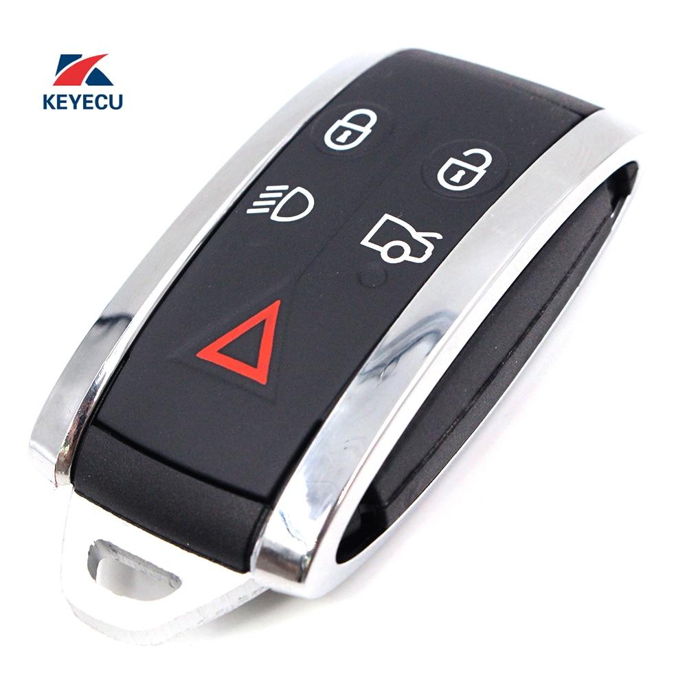 KEYECU Ersatz Flip Remote Auto Schlüssel Fob 5 Taste 433MHz für Jaguar XF XFR XK XKR 2009-2013