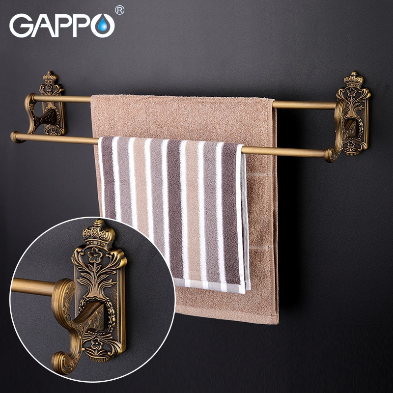 GAPPO-قضبان مناشف من سبائك الزنك ، رف مناشف مزدوج ، حامل حائط ، تخزين ، فولاذ مقاوم للصدأ ، إكسسوارات حمام