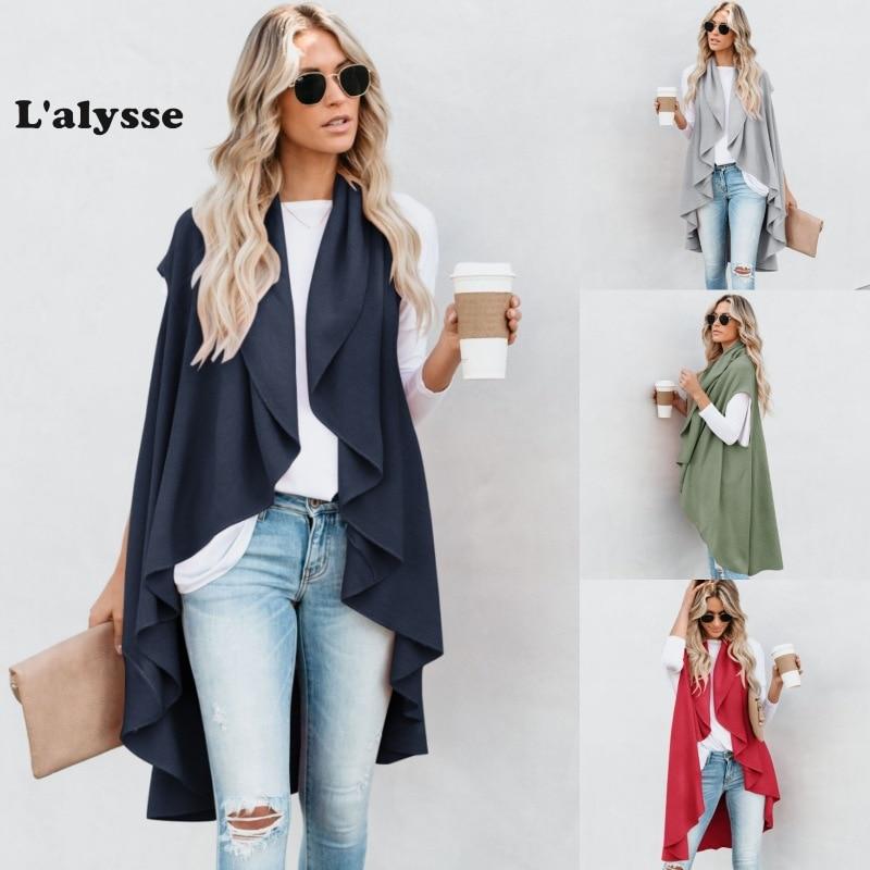 LALYSSE, chaleco de talla grande, Irregular, para mujer, cárdigan largo, chaqueta, abrigo, chaleco largo sin mangas, otoño, primavera, prendas de vestir tejidas