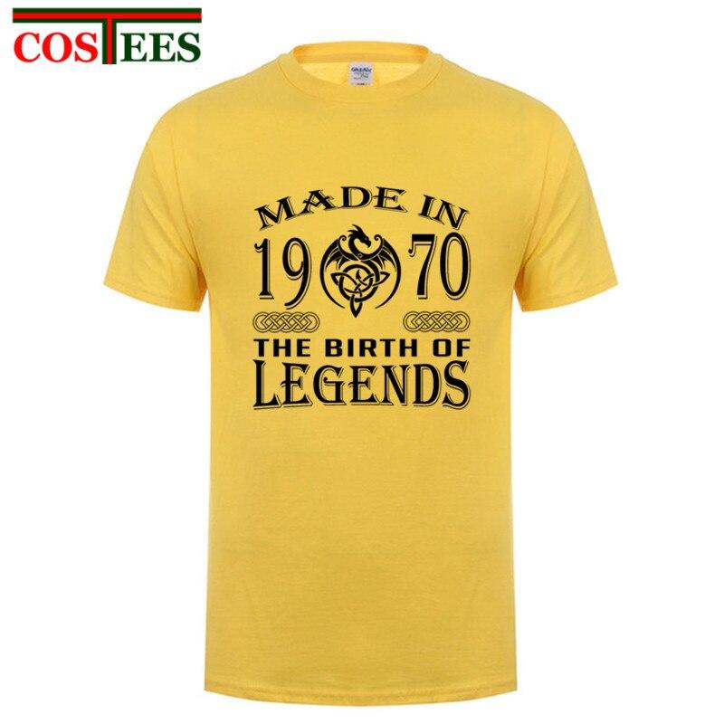 Cuello redondo clásico hombre adulto hecho en 1970 el nacimiento de leyendas camiseta citas kawaii camiseta de adolescente ropa de uso diario