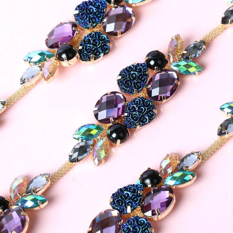 Purple blue grape Fancy Rhinestone Chain 1yard/piece DIY Bags, Garment, Shoes, Cell Phone, Box, Pen, Furniture, Greeting Cards