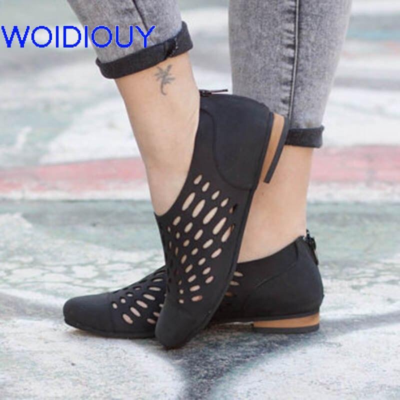 Sandalias de mujer ahuecadas sandalias de gladiador zapatos de verano casuales de Mujer Sandalias planas con recorte talla grande 35-43 zapatos de playa oxfords