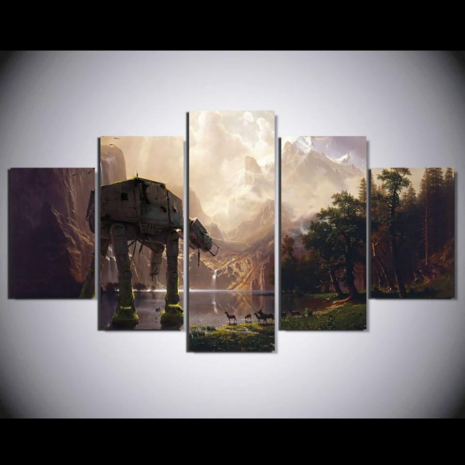 Домашний декор для гостиной, печатный парусиновый постер, 5 панелей, Звездные войны, роботы, собаки, художественная живопись, модульная HD стр...