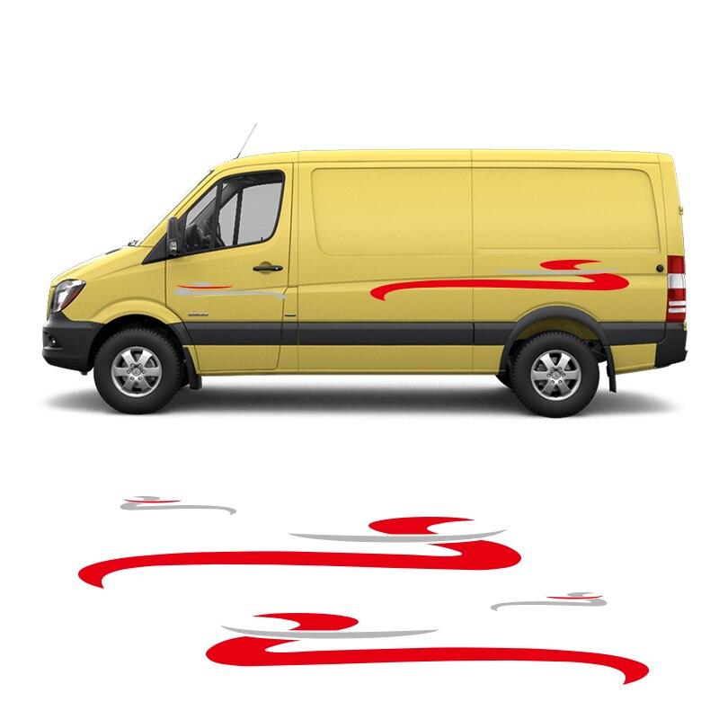 2 Sides Motorhome Stripes Camper Van Vinyl Graphics Stickers Decals For Ford Toyota Chevrolet Isuzu Citroen Berlingo