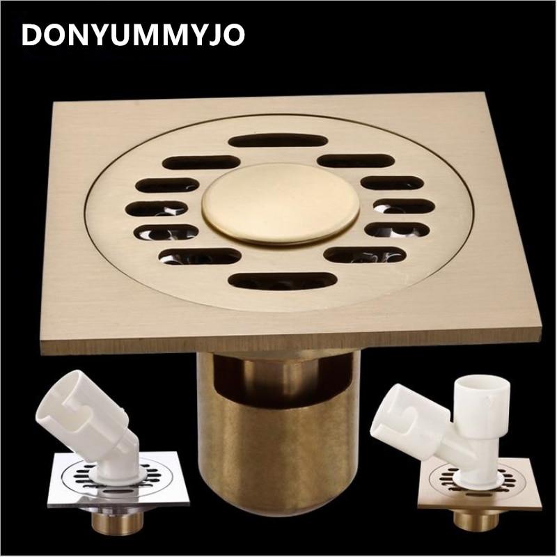 New Odor-resistan Brass Chrome Floor Drain Cover Shower Floor Grate Drain 4 inch