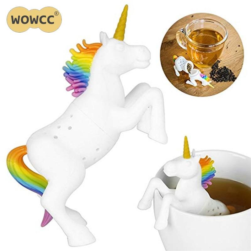 WOWCC, 1 pieza, Infusor de té de unicornio, bolsa de té suelto reutilizable, filtro de hoja de té, colador de hierbas, especias, filtro, difusor, tetera