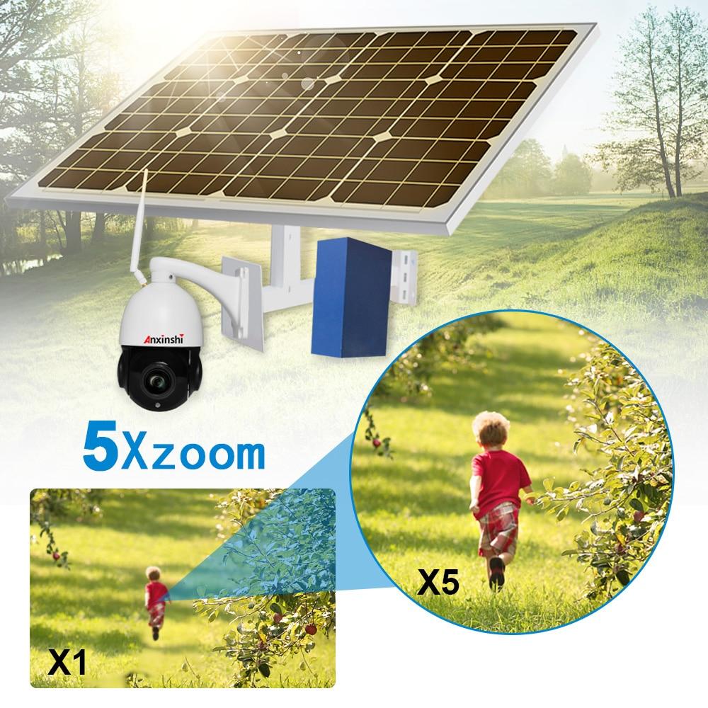 2MP velocidad solar 3G 4G cámara IP PTZ HD 1080P 5x zoom ranura para tarjeta SD P2P al aire libre SEGURIDAD DE CCTV 60W panel solar