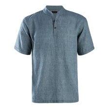 JeeToo модная весенне-Летняя мужская рубашка с коротким воротником-стойкой однобортные Топы однотонный хлопковый Мужской Топ льняная Повседневная рубашка