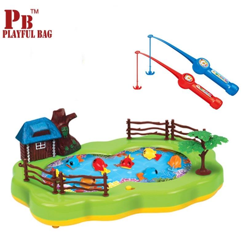 Детские игрушки, пазл для рыбалки, Электрический вращающийся магнитный музыкальный стол для рыбалки, лучший подарок для детей
