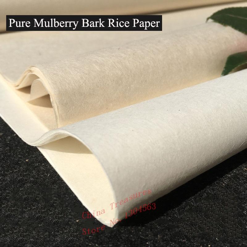 10 hojas/lote muy fina pura corteza de morera de papel de arroz chino Calligrpahy pintura Xuan papel hecho a mano Xuan Zhi Semi-materias primas