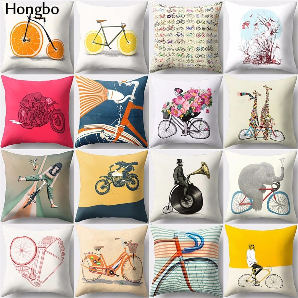 Funda de cojín estampada Hongbo 1 Uds de dibujos animados para bicicleta o bicicleta, funda de cojín con cintura para cama o café, funda de cojín para coche, sofá o decoración del hogar