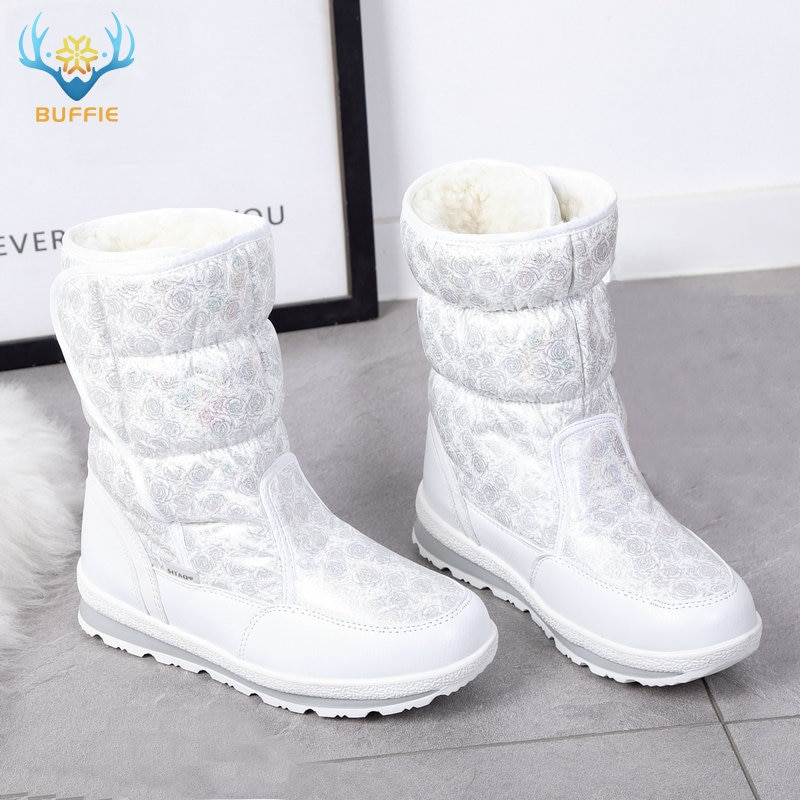 Buffie-أحذية نسائية مضادة للانزلاق ، أحذية شتوية دافئة مصنوعة من الفرو الصناعي ، أحذية عصرية ، 2019